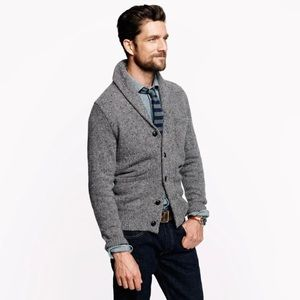 J. Crew Men's Donegal Wool Shaw Cardigan Granite Grey Chunky Knit Sweater Medium